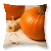 Pumpkin Label Throw Pillow