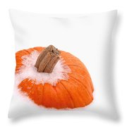 Pumpkin On Ice Throw Pillow