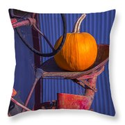 Pumpkin On Tractor Seat Throw Pillow