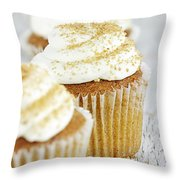 Pumpkin Spice Cupcake With Cream Cheese Icing Throw Pillow