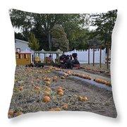 Pumpkin Train Throw Pillow