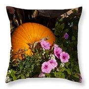 Pumpkin With Purple Flowers Throw Pillow