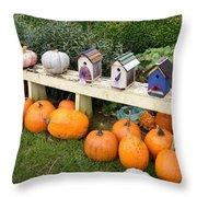 Pumpkins And Birdhouses Throw Pillow