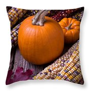 Pumpkins And Corn Throw Pillow