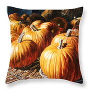 Pumpkins In The Barn Throw Pillow