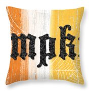Pumpkins Sign Throw Pillow by Linda Woods