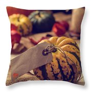 Pumpkins With Label Throw Pillow