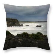 Punakaiki Rocks Throw Pillow