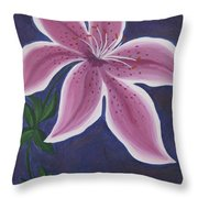 Punctilious Pink Daylily Throw Pillow