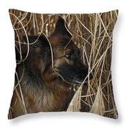 Pup Hiding In Tall Grass Throw Pillow