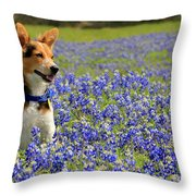 Pup In The Bluebonnets Throw Pillow