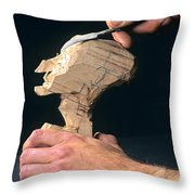 Puppet Being Carved From Wood Throw Pillow