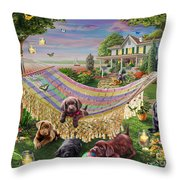 Puppies And Butterflies Throw Pillow