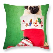 Puppy For Christmas Throw Pillow