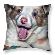 Puppy Laughter Throw Pillow