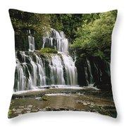 Purakaunui Falls And Tropical Throw Pillow