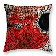 Pure Passion 2 - Stone Rock'd Red And Black Art Painting Throw Pillow by Sharon Cummings
