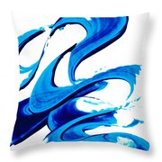 Pure Water 314 - Blue Abstract Art By Sharon Cummings Throw Pillow