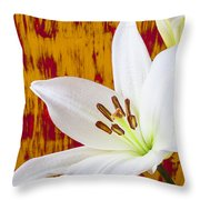 Pure White Lily Throw Pillow