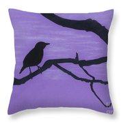Purple - Bird - Silhouette Throw Pillow