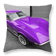Purple 1968 Corvette C3 From Above Throw Pillow