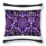Purple Abstract Flower Garden - Kaleidoscope - Triptych Throw Pillow