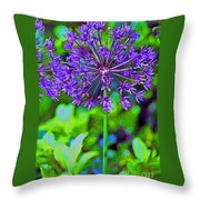 Purple Allium Flower Throw Pillow