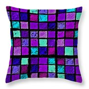Purple And Aqua Sudoku Throw Pillow