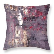 Vineyard - Purple And Beige Abstract Art Painting Throw Pillow