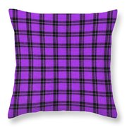 Purple And Black Plaid Textile Background Throw Pillow