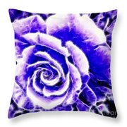 Purple And Blue Rose Expressive Brushstrokes Throw Pillow
