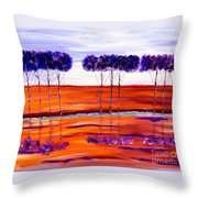 Purple And Blue Trees Abstract Throw Pillow