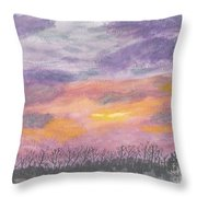 Purple And Gold November Sunset In West Michiganwatercolor Throw Pillow