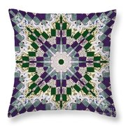 Purple And Green Patchwork Art Throw Pillow
