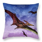 Purple And Green Ptreodactyls Soaring In The Sky Throw Pillow