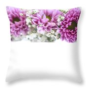 purple and mauve Flower frame on white  Throw Pillow
