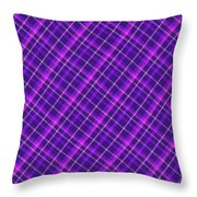 Purple And Pink Diagonal Plaid Fabric Background Throw Pillow