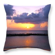 Purple And Pink Sunset Caribbean Dream Throw Pillow