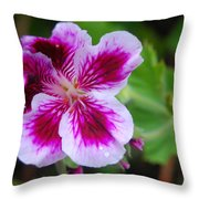 Purple And White Flowers Throw Pillow