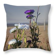 Purple And White Flowers In The Sun Throw Pillow