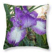 Purple And White Iris Throw Pillow