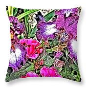 Purple And White Irises And Pink Flowers Throw Pillow