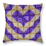 Purple And Yellow Endless Love Log Cabin Quilt Throw Pillow