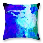 Purple Ballerina Watercolor Throw Pillow