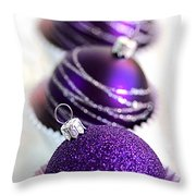 Purple Baubles Throw Pillow