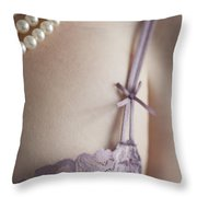 Purple Bra And Pearl Necklace Throw Pillow by Lee Avison