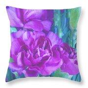 Purple Carnations Throw Pillow
