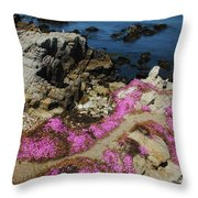 Purple Carpet And The Gulls Throw Pillow