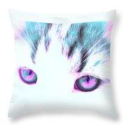 Purple Cat Eyes Throw Pillow