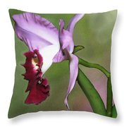 Purple Cattleya Orchid In Profile Throw Pillow